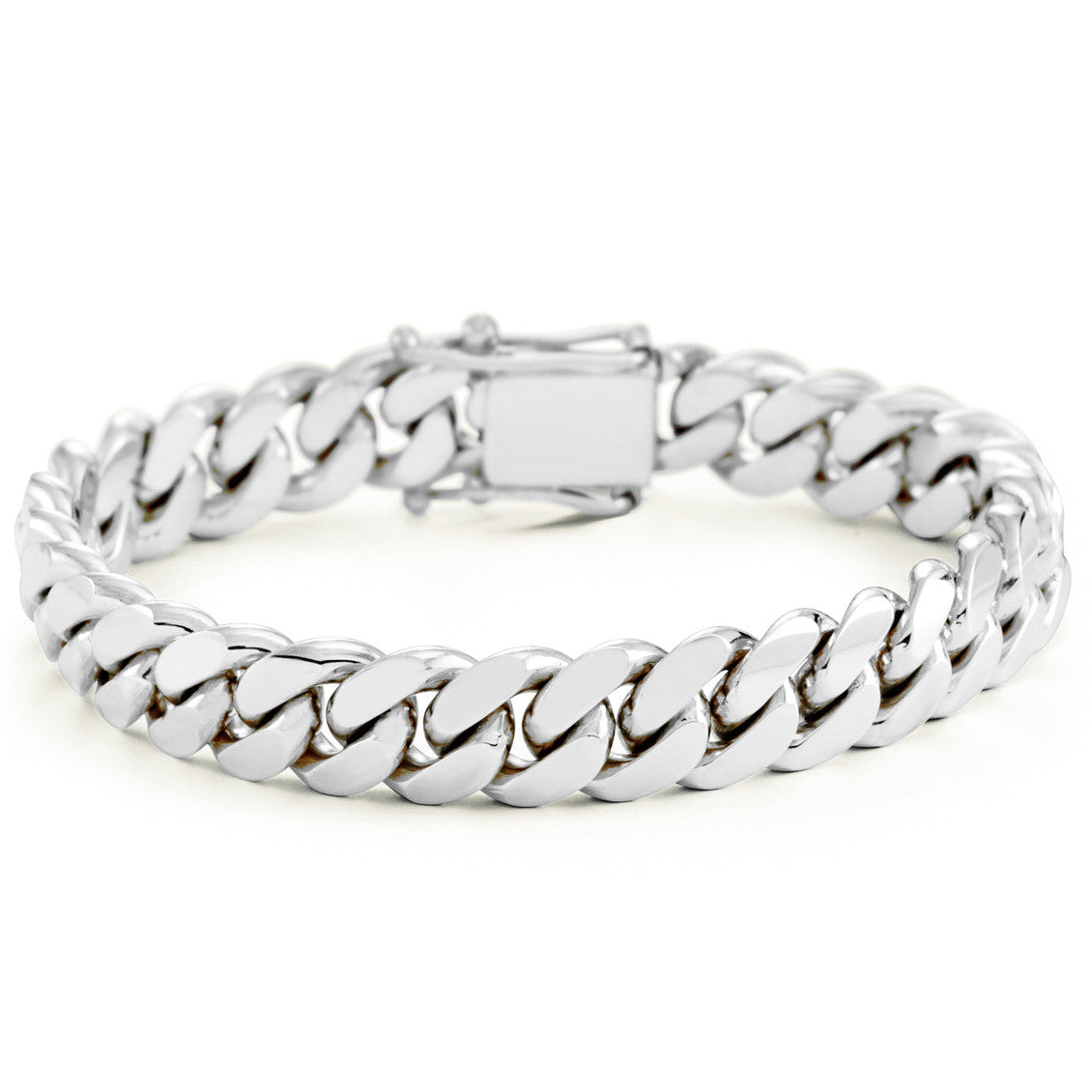 Silver Miami Cuban Link Bracelet With Box Clasp 12mm