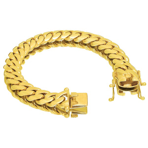 Solid Gold Miami Cuban Link Bracelet 10k & 14K Yellow Gold | 14mm
