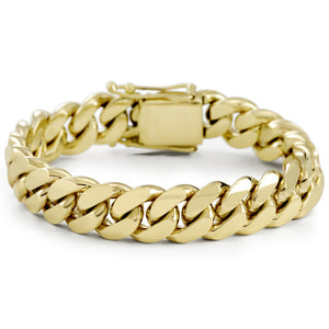 Vermeil Miami Cuban Link Bracelet With Box Clasp | 14mm