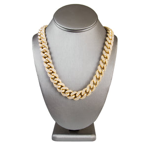 14mm Handmade Vermeil Iced out cuban link chain