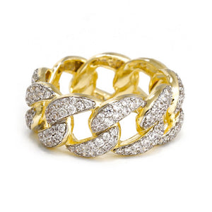 Gold 18k Diamond Cuban Link Ring