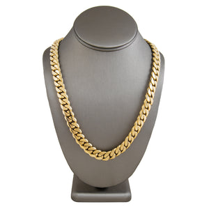 Solid Gold Miami Cuban Link Chain 10k & 14k Yellow Gold | 16mm