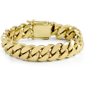 Vermeil Miami Cuban Link Bracelet With Box Clasp | 16mm
