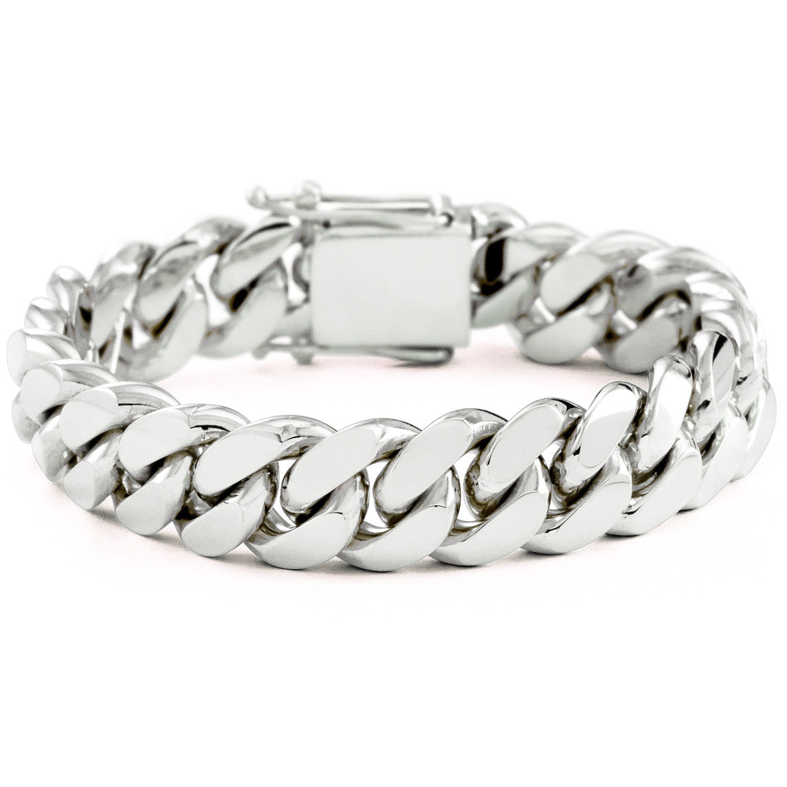 Silver Miami Cuban Link Bracelet With Box Clasp 16mm