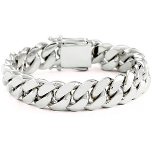 Silver Miami Cuban Link Bracelet With Box Clasp | 16mm