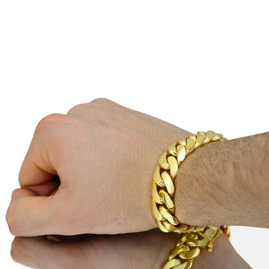 Solid Gold Miami Cuban Link Bracelet 10k & 14k Yellow Gold | 16mm