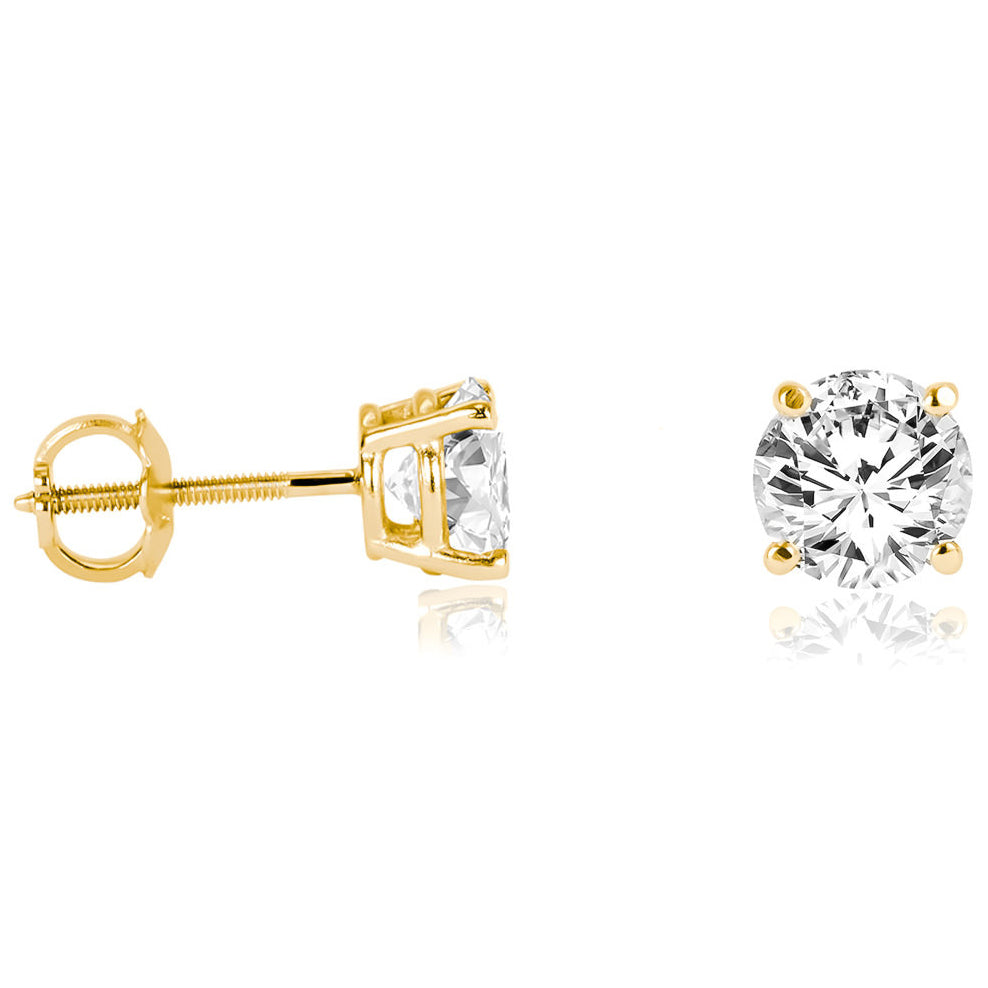 18k Gold Round Solitaire Diamond Earring Stud (Total 1 Carat ...