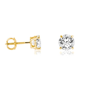 18k Gold Round Solitaire Diamond Earring Stud (Total 1.0 Carat)
