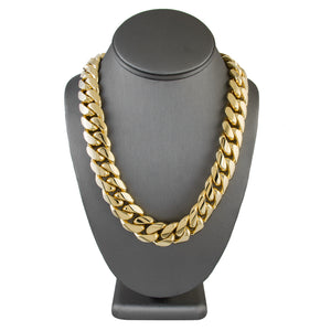 Solid Gold Miami Cuban Link Chain 10k & 14k Yellow Gold | 18mm