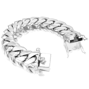 Silver Miami Cuban Link Bracelet With Box Clasp | 20mm
