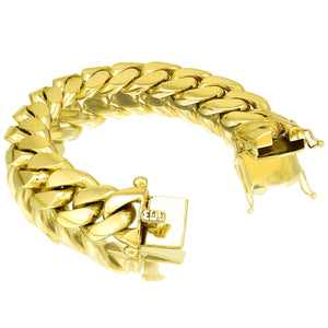 Solid Gold Miami Cuban Link Bracelet 10k & 14k Yellow Gold | 20mm