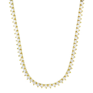 Vermeil 3mm 3 prong Gold Iced Out Tennis Chain Necklace