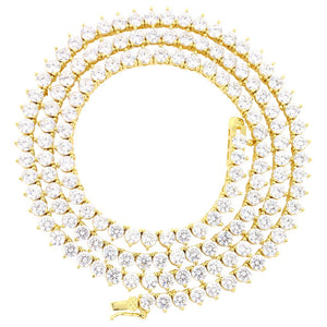 3mm 3 prong Gold Iced Out Tennis Chain Necklace