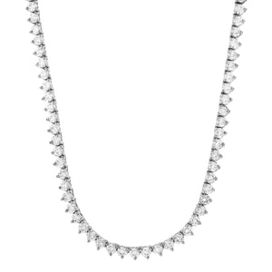 Vermeil 3mm 3 prong White Gold Iced Out Tennis Chain Necklace
