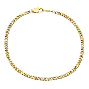 3mm Gold Layered Cuban Link Curb Bracelet