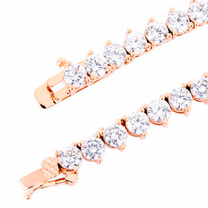 3mm 3 prong Rose Gold Iced Out Tennis Chain Necklace