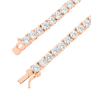 Vermeil 3mm Rose Gold Iced Out Tennis Chain Necklace