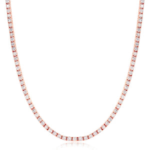 3mm Rose Gold Iced Out Tennis Chain Necklace