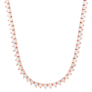 Vermeil 4mm 3 prong Rose Gold Iced Out Tennis Chain Necklace