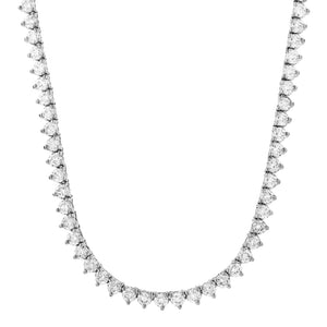4mm 3 prong White Gold Iced Out Tennis Chain Necklace