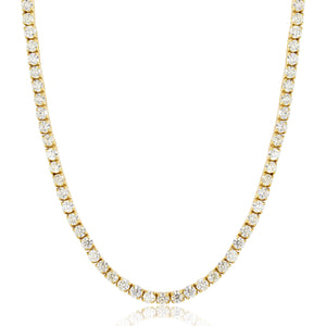Vermeil 4mm Gold Iced Out Tennis Chain Necklace