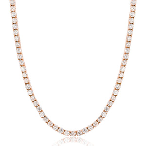 Vermeil 4mm Rose Gold Iced Out Tennis Chain Necklace