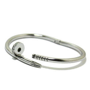 Silver Nail Bangle / Bracelet With & Without CZ stones