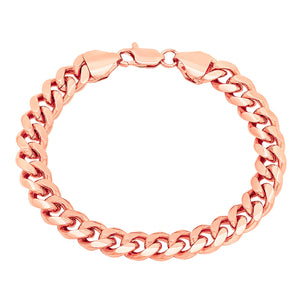 9mm Rose Gold Layered Miami Cuban Link Bracelet