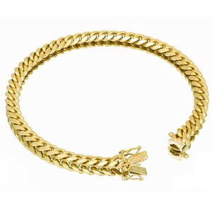 Solid Gold Miami Cuban Link Bracelet 10k & 14k Yellow Gold | 6mm