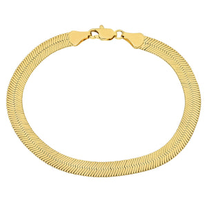7mm Gold Plated Herringbone Bracelet