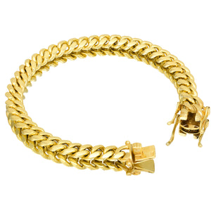 Solid Gold Miami Cuban Link Bracelet 10k & 14k Yellow Gold | 8mm