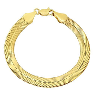 9mm Gold Plated Herringbone Bracelet