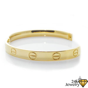 Gold Screw Love Bangle 8mm