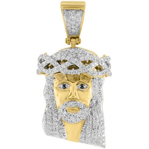 Gold Iced Out Jesus Piece 2""