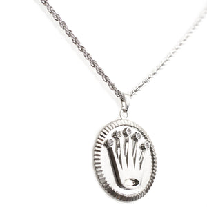 White Gold Layered Crown Pendant