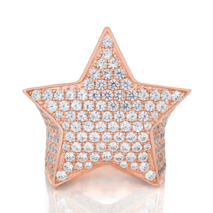 Mens Rose Gold Star Ring