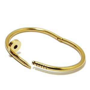 Gold Nail Bangle With & Without stones