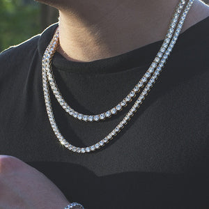 4mm Silver Iced Out Tennis Chain Necklace