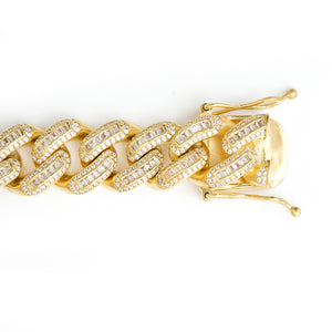 Iced Out Cuban Link Chain With Baguette Stones