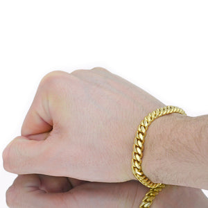 Vermeil Miami Cuban Link Bracelet With Box Clasp | 8mm