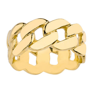 Gold Cuban Link Ring 10mm