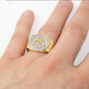 Gold iced Out crown Ring