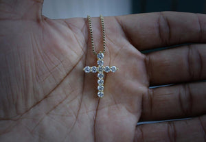 Gold Iced Out Micro Cross Pendant