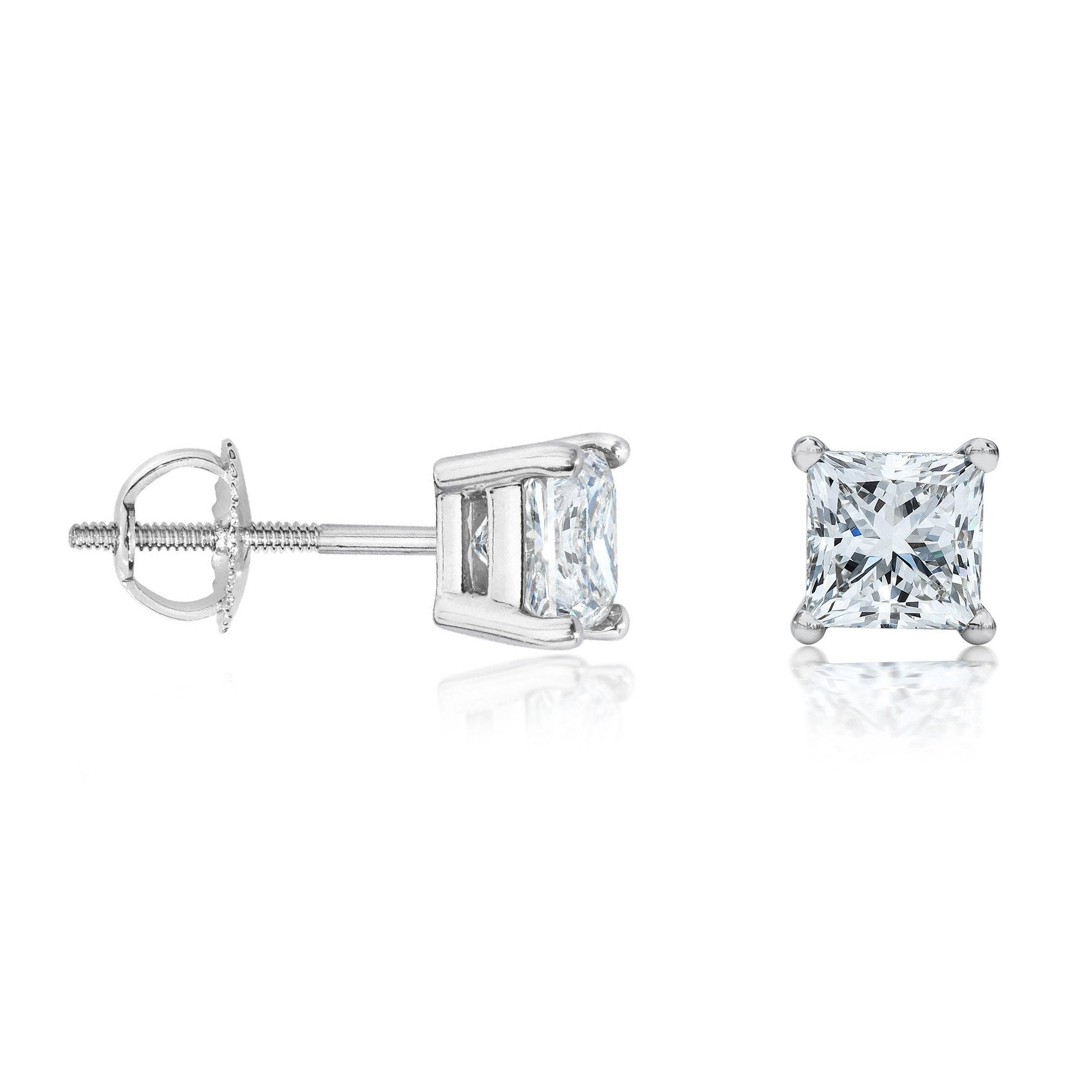 tw earrings square in i princess ctw white diamond stud h cut gold carat
