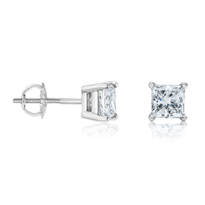 14k White Gold Square Princess Cut Diamond Earring Stud (Total .50 Carat)