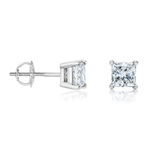 14 White Gold Square Princess Cut Diamond Earring Stud (Total 1 Carat)