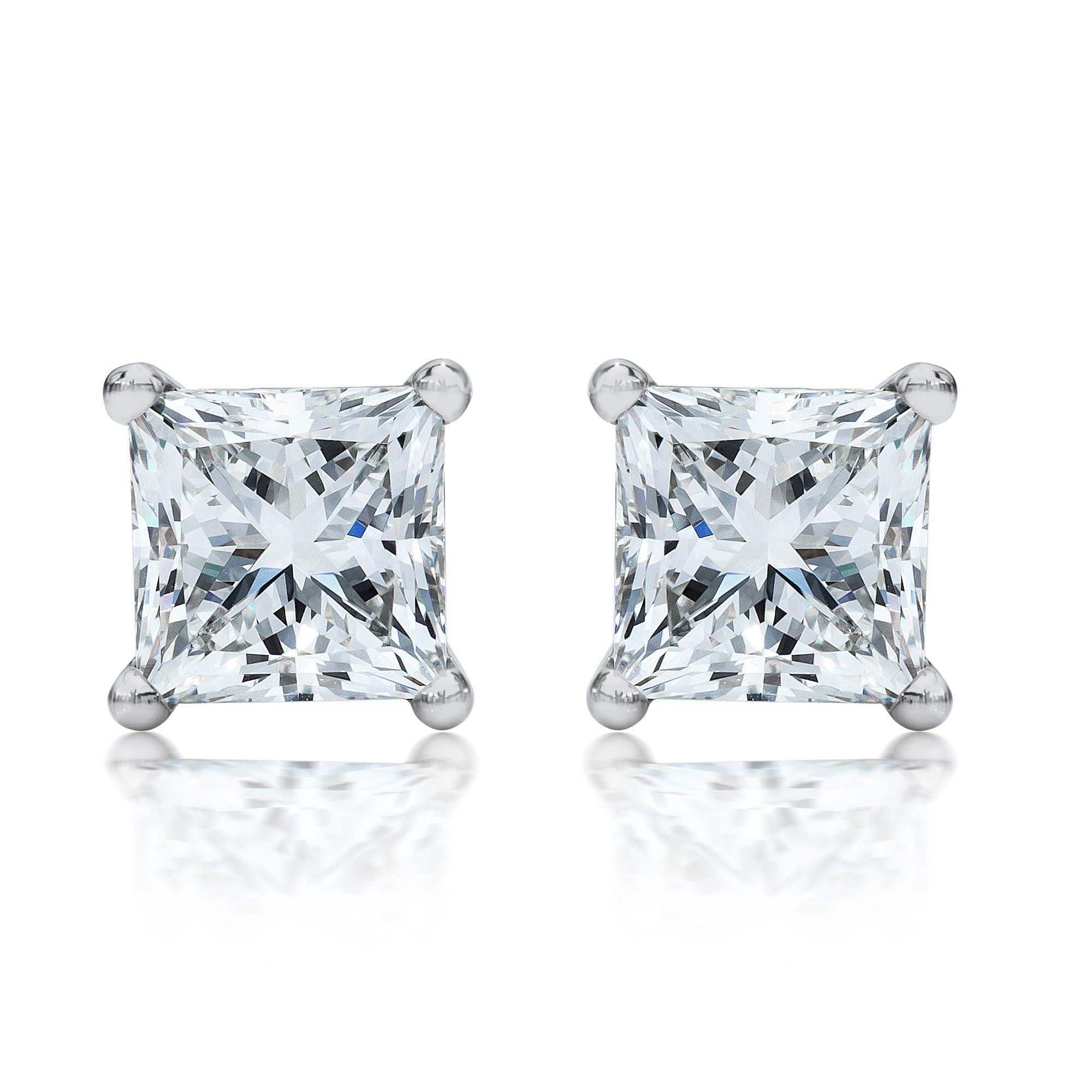 product house earrings stud square gold diamond rounded cluster white