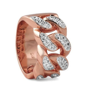 Rose Gold 18k Iced Out Cuban Link Ring
