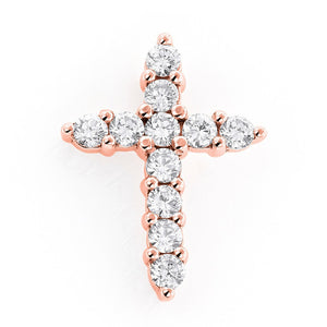 Rose Gold Iced Out Micro Cross Pendant