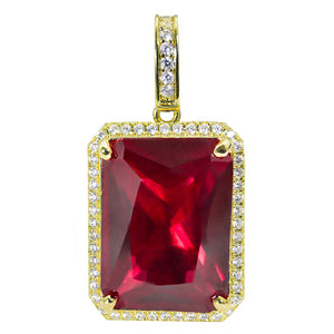 18k Iced out Ruby pendant